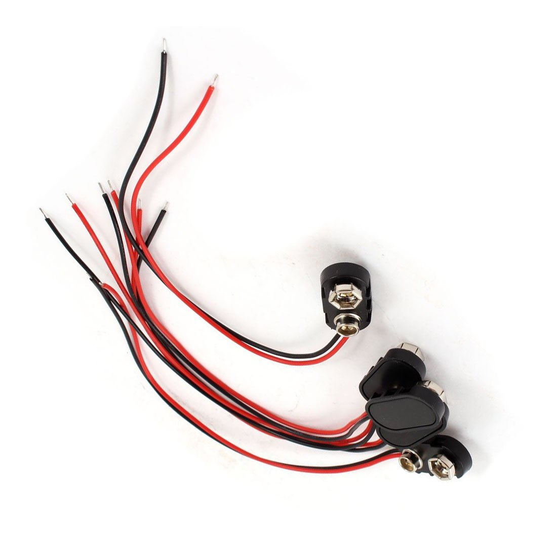 WOVELOT 5 Pieces boitier en Plastique Noir 14,99 cm connecteurs Double Cable 9 V Piles Rechargeables