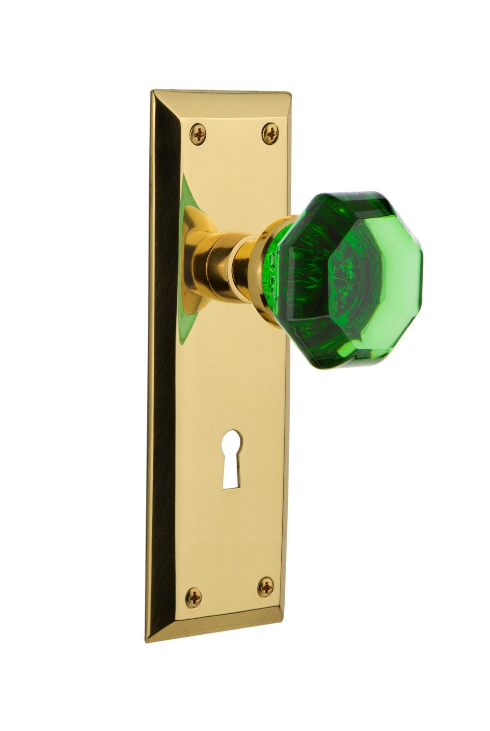 Nostalgic Warehouse 723955 New York Plate with Keyhole Double Dummy Waldorf Emerald Door Knob in Polished Brass