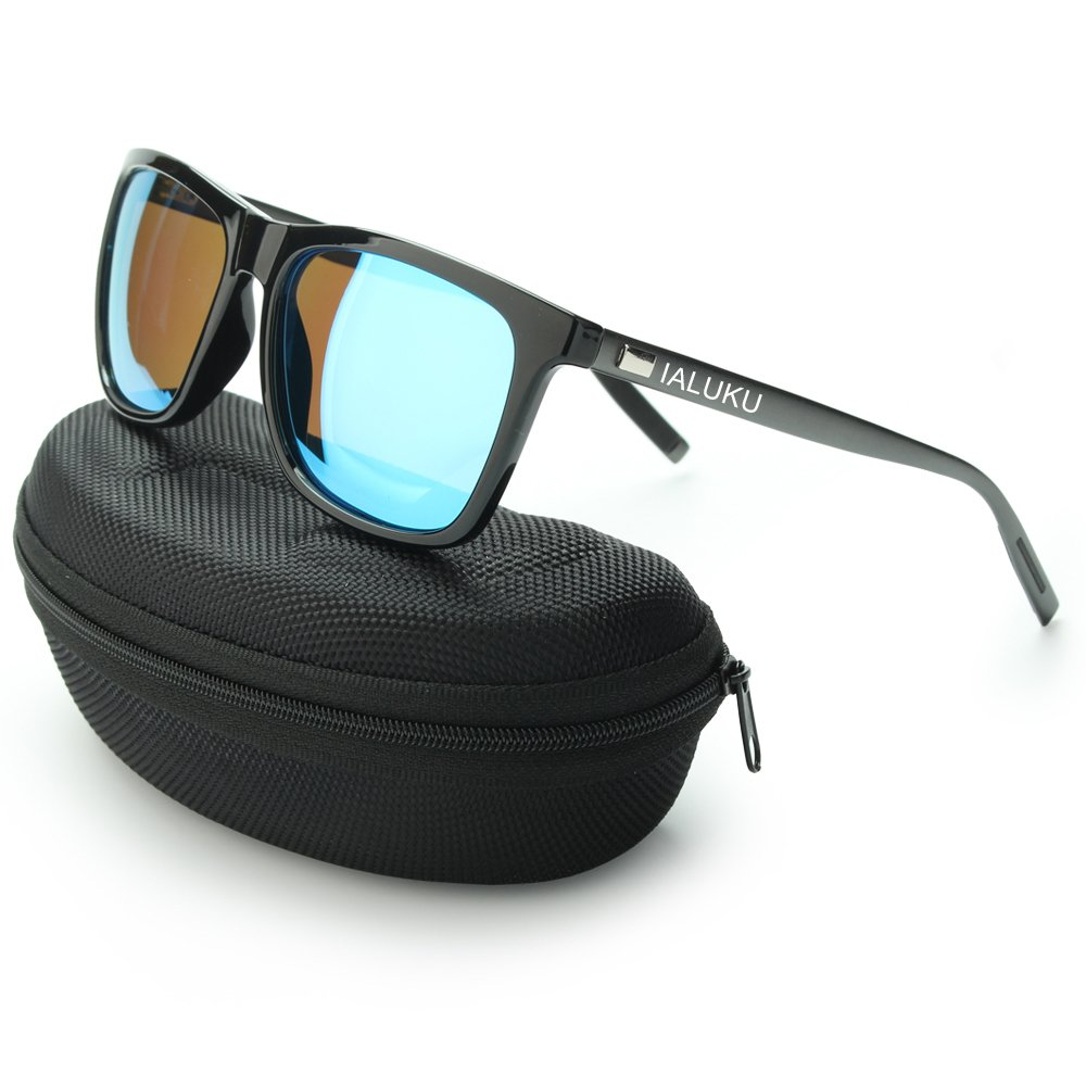 IALUKU Wayfarer Sunglasses Polarized Women Men Mirrored UV400 Full Frame (Black / Blue, 60)