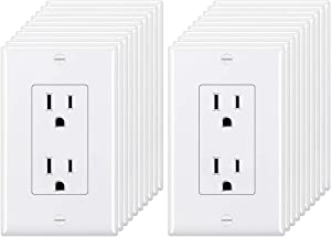 [20 Pack] BESTTEN 15A Decorator Wall Receptacle Outlet, Non-Tamper-Resistant, Wallplate Included, UL Listed, White