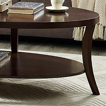 Perth Espresso Oval Coffee Table with Shelf