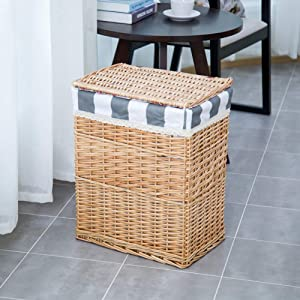 ZQ&QY Rattan Hand-Woven Laundry Hamper with Lid,Removable Cotton Linen Lining Laundry Basket,Large Decoration Clothing Toys Storage Basket Primary Color A 31x26x38cm(12x10x15inch)