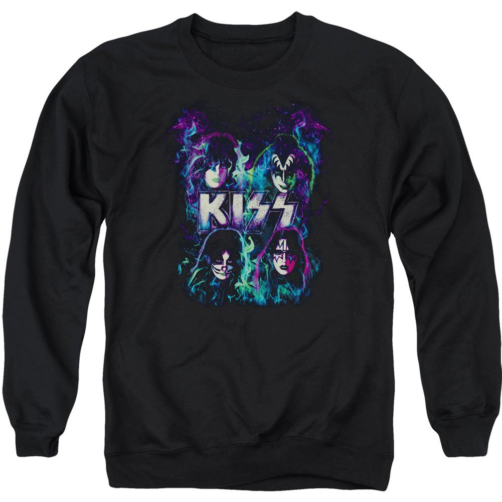 Kiss Hard Rock Metal Band Blue Flames Adult Crewneck Sweatshirt Trevco