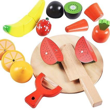Fongfong Set De 16 Piezas Juguetes De Cortar Vegetal Y Frutas De