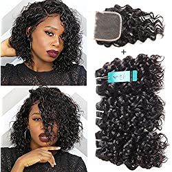 UDU Malaysian Water Wave Hair 3 Bundles with Swiss Lace Closure Free Part Ocean Wave Wet & Wavy Bundle Deals Human Hair Weave Extensions Remy Hair Bundles Malaysian Water Curly Hair (8 8 8+8 closure)