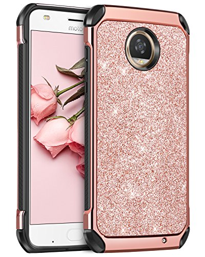 Moto Z2 Play Case, BENTOBEN Luxury Bling Glitter Slim 2 in 1 Soft TPU Bumper Hybrid Hard PC Cover Coat Sparkly Shiny PU Faux Leather Shockproof Protective Phone Cases for Girls Women Rose Gold/Pink
