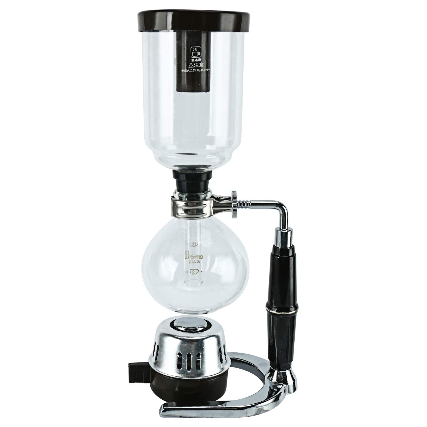 Boeng Tabletop Siphon (Syphon) Coffee Maker with Alcohol Burner, Plastic Coffee Powder Spoon, Filter Cloth and Wooden Stirrer (3 Cups)