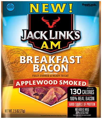 Jack Links A.M. Breakfast Bacon, Applewood Smoked, 2.5 oz. Bag - Flavorful Ready to Eat Meat Snack with 11g of Protein, Made with 100% Real Bacon - No Added MSG or Nitrates/Nitrites -
