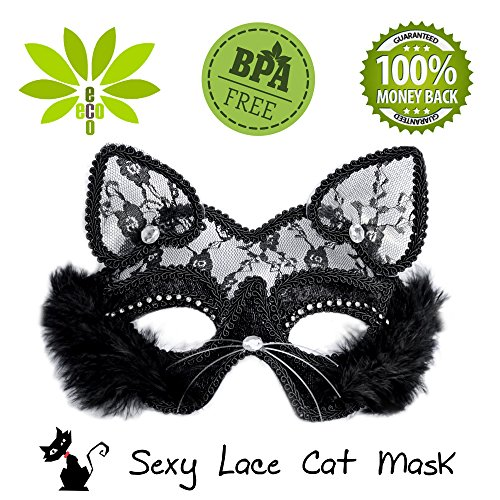 Lace masquerade mask sexy cat black face Halloween ball women costume (Cat Eye Halloween Makeup)