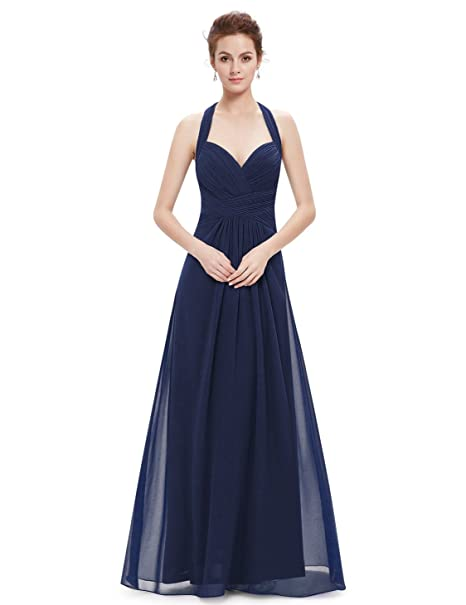 Ever-Pretty Hálter Vestido Largo de Noche para Mujer de Ceremonia Boda Azul Marino 36