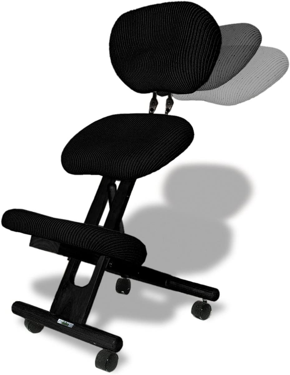 Amazon Com Cinius Professional Ergonomic Wooden Height Adjustable Kneeling Chair With Backrest Support And Non Deformable Cushions Black Kitchen Dining