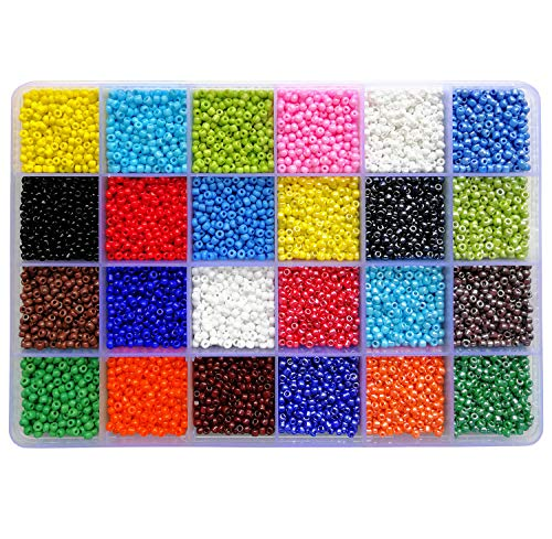 BALABEAD 14400pcs in Storage Box 8/0 Seed Beads Loose Spacer Craft Beads for Jewelry Making 3mm Glass Seed Beads with Hole 1.0mm (600pcs/Color, 24 Colors) -