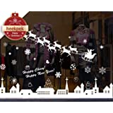 Christmas Window Stickers Reindeer Snowflakes City Wall Decorations Removable Murals 30 * 90cm