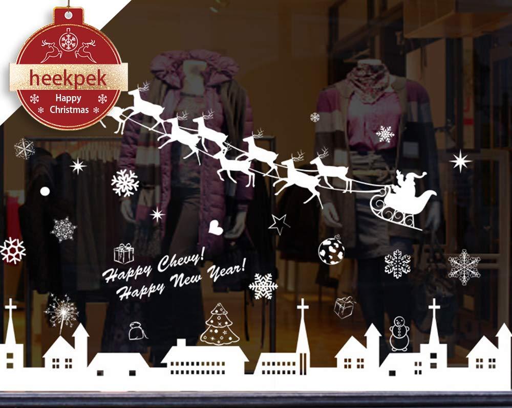 Christmas Window Stickers Reindeer Snowflakes City Wall Decorations Removable Murals 30 * 90cm Heekpek®