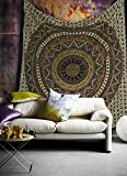 Popular Handicrafts Hippie Mandala Bohemian Psychedelic Intricate Floral Design Indian Bedspread Magical Thinking Tapestry 84x90 Inches,(215x230cms) Brown