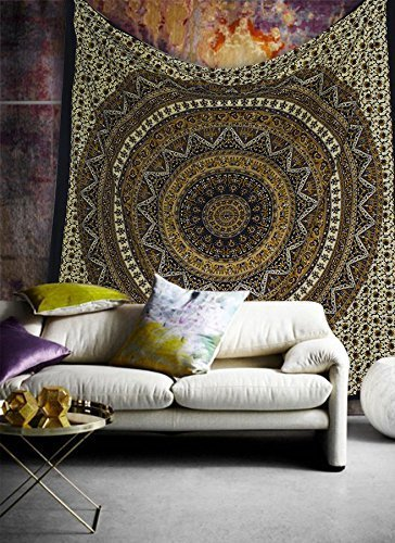 Popular Handicrafts Hippie Mandala Bohemian Psychedelic Intricate Floral Design Indian Bedspread Magical Thinking Tapestry 84x90 Inches,(215x230cms) -