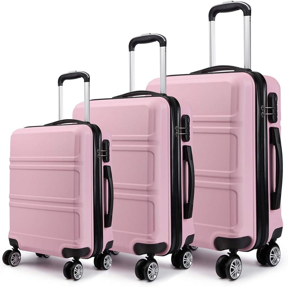 Kono Juego Set 3 Maletas Trolley Rígida ABS Equipajes de Viaje (55cm,66cm,74cm)-Rosa