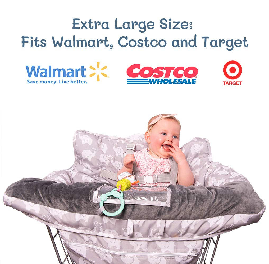 2-in-1 Baby Shopping Cart Cover and High Chair Protector - Germ-Protecting Seat Covers for Grocery Carts, Restaurant High-Chairs - Universal, Soft, Safe - Travel Gear for Babies, Infants by Tooshin Baby (Image #5)