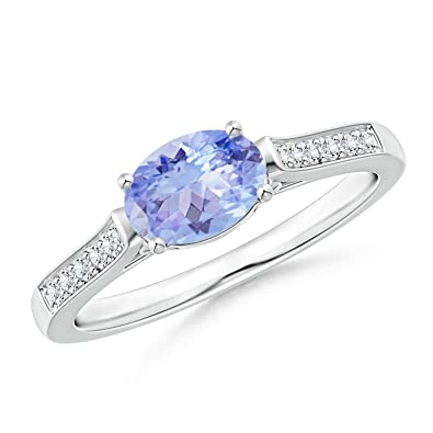 Angara East West Set Oval Tanzanite Solitaire Ring o3iDw
