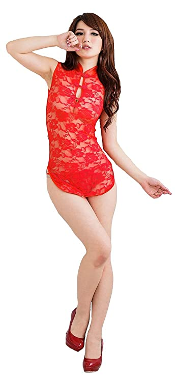 35773771539 Amazon.com  Women s Sexy Lingerie Sheer Chinese-style Rose Pattern  Cheongsam Dress+t-back (pink)  Clothing