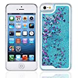 RASK For iPhone 5/ 5S/ 5C Phone Case, Dynamic Liquid Glitter Sand Quicksand Star Case Crystal Clear Cellphone Back Cover for iPhone 5/ 5S/ 5C Blue