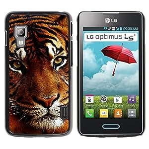 Be Good Phone Accessory // Dura Cáscara cubierta Protectora Caso Carcasa Funda de Protección para LG Optimus L5 II Dual E455 E460 // Tiger Sleepy Orange Big Cat Muzzle Animal