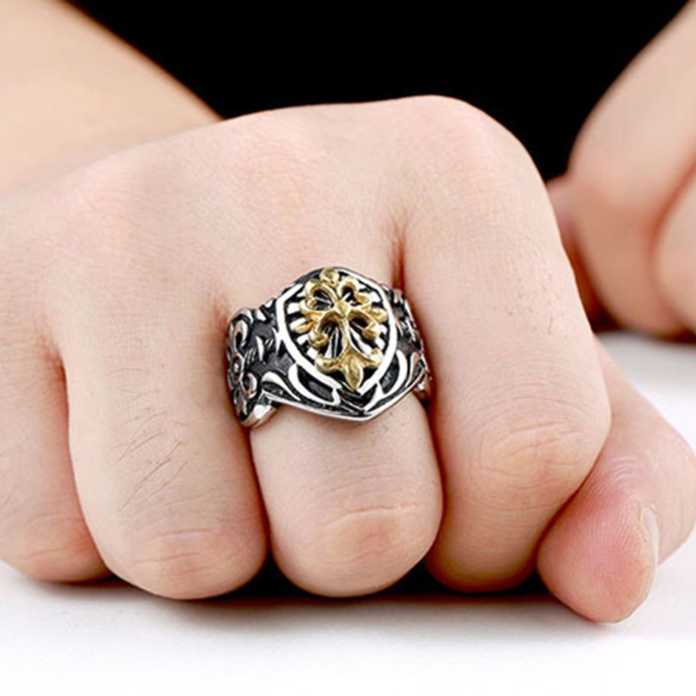 LILILEO Jewelry Retro King Of The Sword Medieval Knight Shield Ring ...