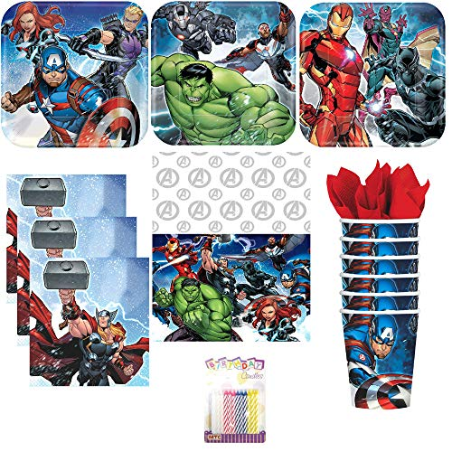 Marvel Epic Avengers Party Supplies Pack Serves 16: Dessert Plates, Beverage Napkins, Cups, Table Cover, and Birthday Candles ()