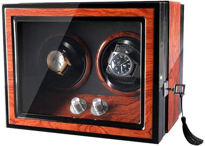 Enrollador de Reloj automático Doble Controlador de Reloj con Motor silencioso Mabuchi lámpara LED incorporada Caja de Reloj Caja de Reloj para 2 Relojes