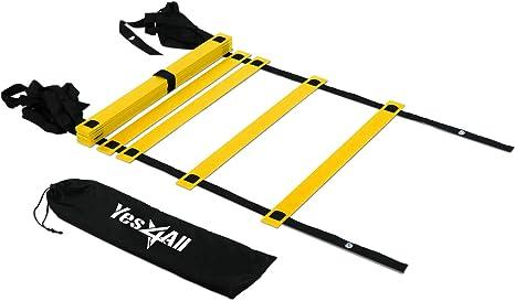 Yes4All velocidad escalera de agilidad con bolsa de transporte – Multi Opción: 8, 12, 20 peldaños - CKT4, amarillo, (Yellow - 12 rung): Amazon.es: Deportes y aire libre