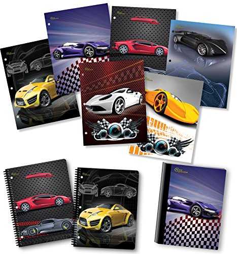 NEW GENERATION - Cars - Fashion School Supplies 2 Pocket Folders Value Pack with Eye-Catching Designs - Durable Set with 6 School, Home Folders,1 Composition Notebook 2 Spiral Notebooks