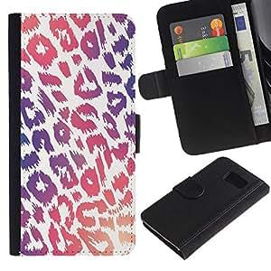 KingStore / Leather Etui en cuir / Samsung Galaxy S6 / Modelo púrpura rosado de la piel blanca;