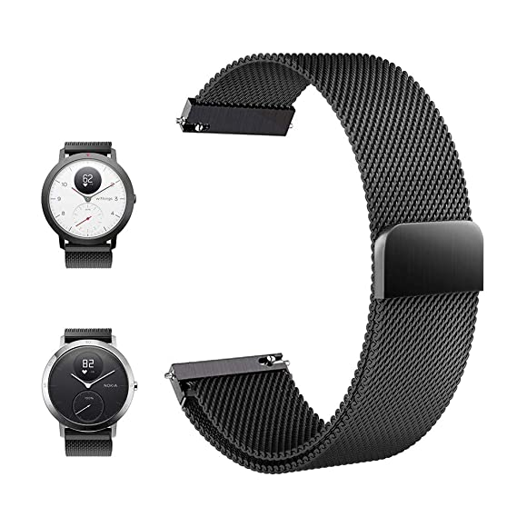 FRGNIE Compatible Withings/Nokia Steel HR Sport Smartwatch (40mm) Band, Magnetic Closure Stainless Steel Watch Band Replacement Strap for Steel HR ...