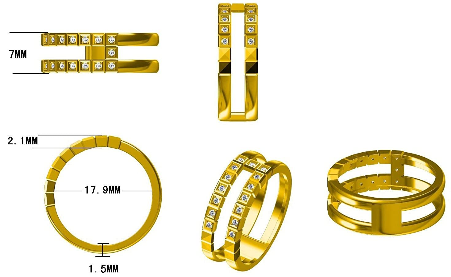 Prism Jewel 0.13CT G-H//SI1 Natural Diamond Light Weight 2-Row Wedding Band