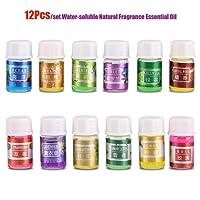 Garosa Aceite Esencial de Fragancia Natural Kit de Relajación Soluble En Agua 100% Puro Terapia de Plantas Orgánicas Aromaterapia Difusores Aceites para Humidificador 12 Unids/Set