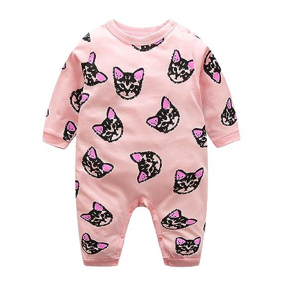 Domybest Pijama Monos de vestir para Recién nacido Bebé Niñas Niños Gato Algodón Manga Larga jumpsuits rosa tamaño para 12-18 M: Amazon.es: Ropa y ...