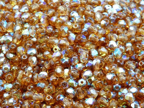 Topaz Round Firepolish Glass Bead - 100 Pcs Czech Fire-polished Faceted Glass Beads Round 4mm Dark Topaz AB