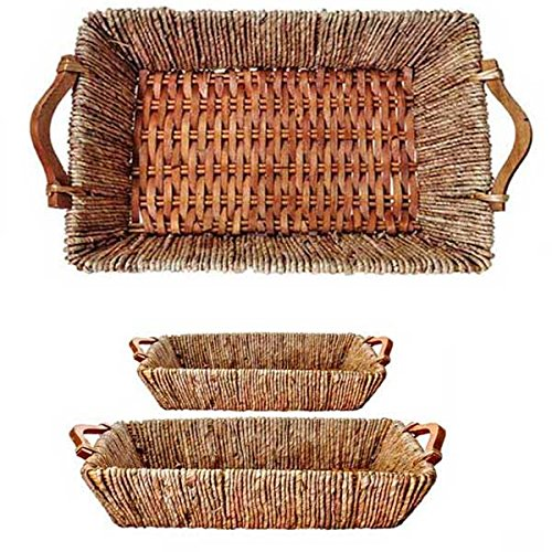Oblong Maize and Willow Tray Group Of 2 (Set of 10)(20 Baskets) by suppliesforgiftbasket (Image #1)