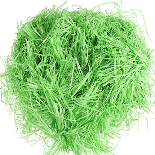 Zhehao 200 Gram Easter Grass Paper Easter Basket Grass Shredded Tissue Paper Gift Filler for Easter Basket, Gift Box Packaging Filling (Green) ()