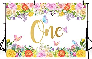 MEHOFOTO Garden Butterfly 1st Birthday Party Photo Studio Booth Backgrounds Pink Yellow Floral Girl One Happy First Birthday Spring Photography Backdrop Banner 7x5ft