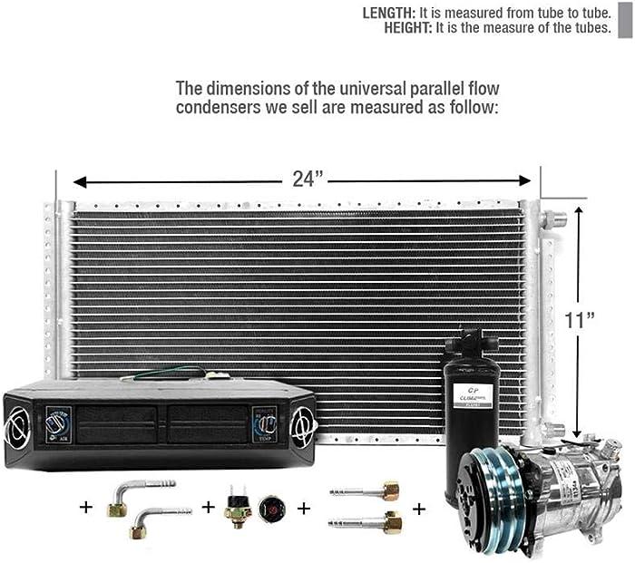 CLIMAPARTS AC Kit Universal Evaporator Underdash Unit Compressor and Condenser 11 x 24