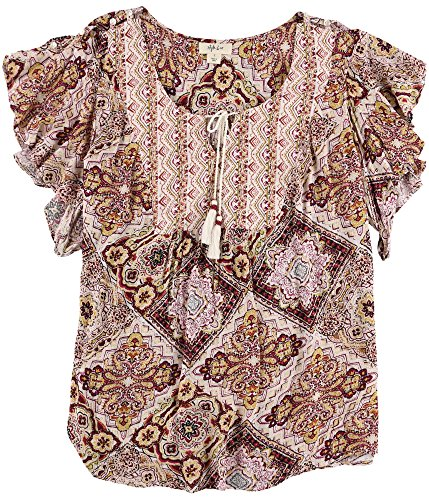 (Style&co. Womens Printed Knit Blouse, Brown, Large)