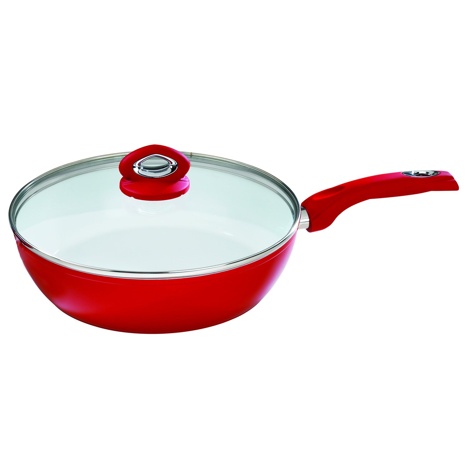 Bialetti Aeternum Red 7197 Covered Deep Saute, 12-inch