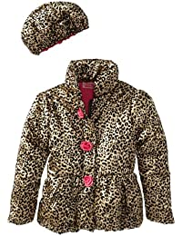 Little Girls' 2 Pieced Gold Leopard Jacket and Hat