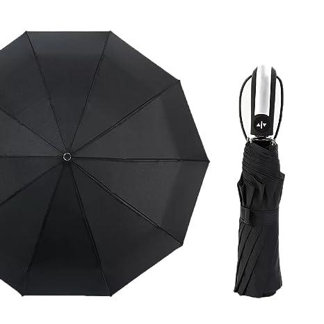 Paraguas Compacto y Resistente al Viento, Paraguas Impermeable Plegable con Apertura y Cierre Automático,