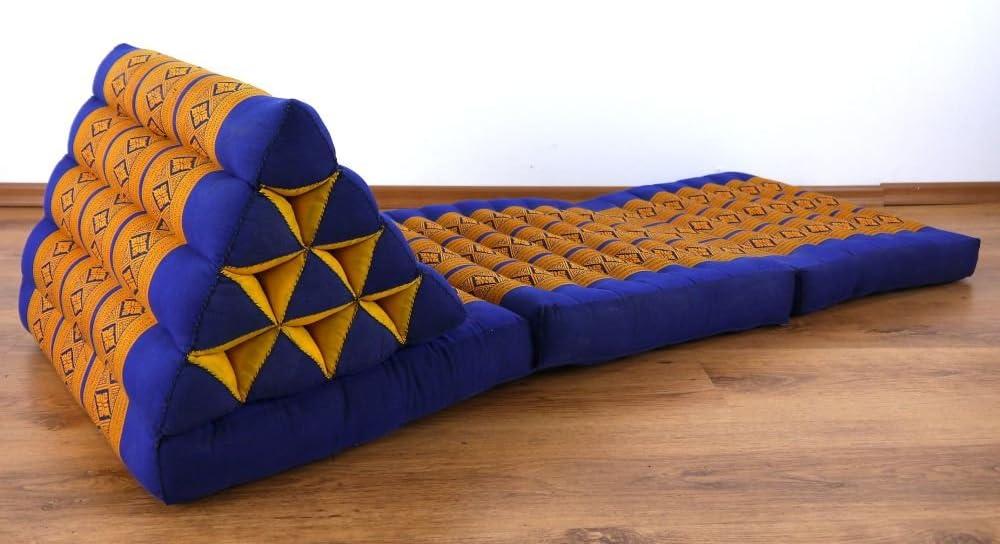Coussin Tha/ï Rembourrage en Kapok Coussin//Matelas de Sol Livasia 170 x 50 x 8 cm Coussin Triangulaire avec Matelas 3 Parties