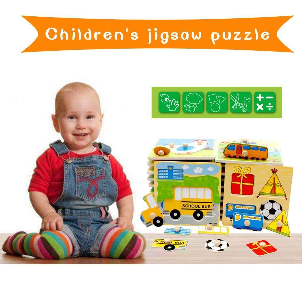 Iiloens - Puzle de Madera para niñ os con Forma de Rompecabezas para bebé , Juguete Educativo temprano, Juego de Aprendizaje, Gran Regalo para bebé s de 3 añ os (Color al Azar) Gran Regalo para bebés de 3 años (Color al Azar)