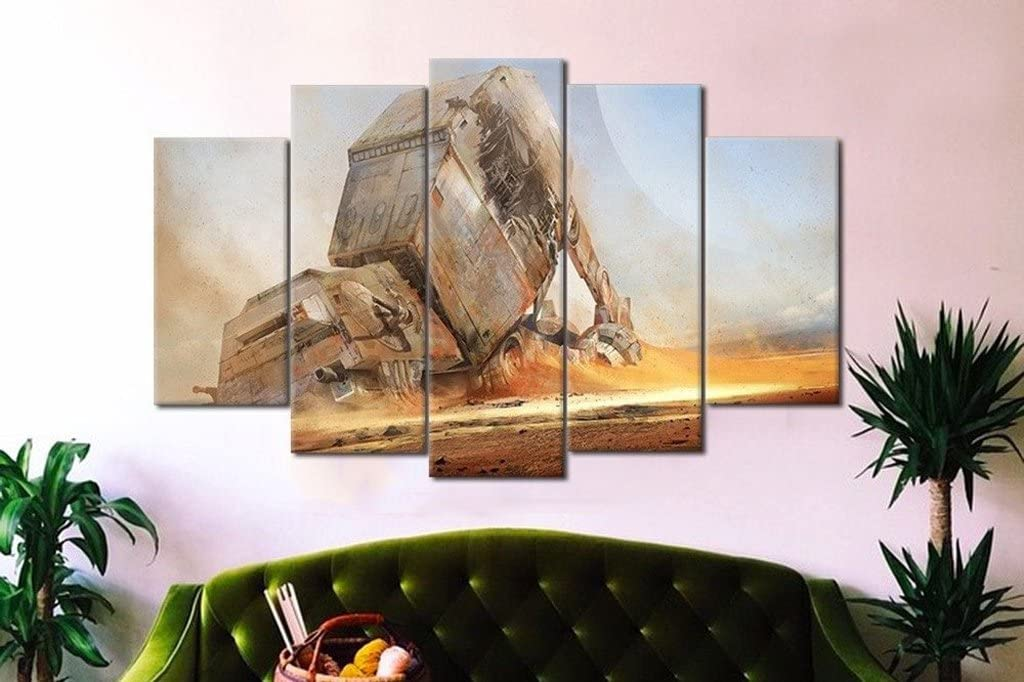 Empowered Living - Starwars Fallen at at 5PCS Framed Canvas - 5 Piece Canvas Star Wars Battle at Canvas for Office and Home Wall Decor (XLarge: 4060cm x2pcs+4080cm x2pcs+40100cm x1pc)