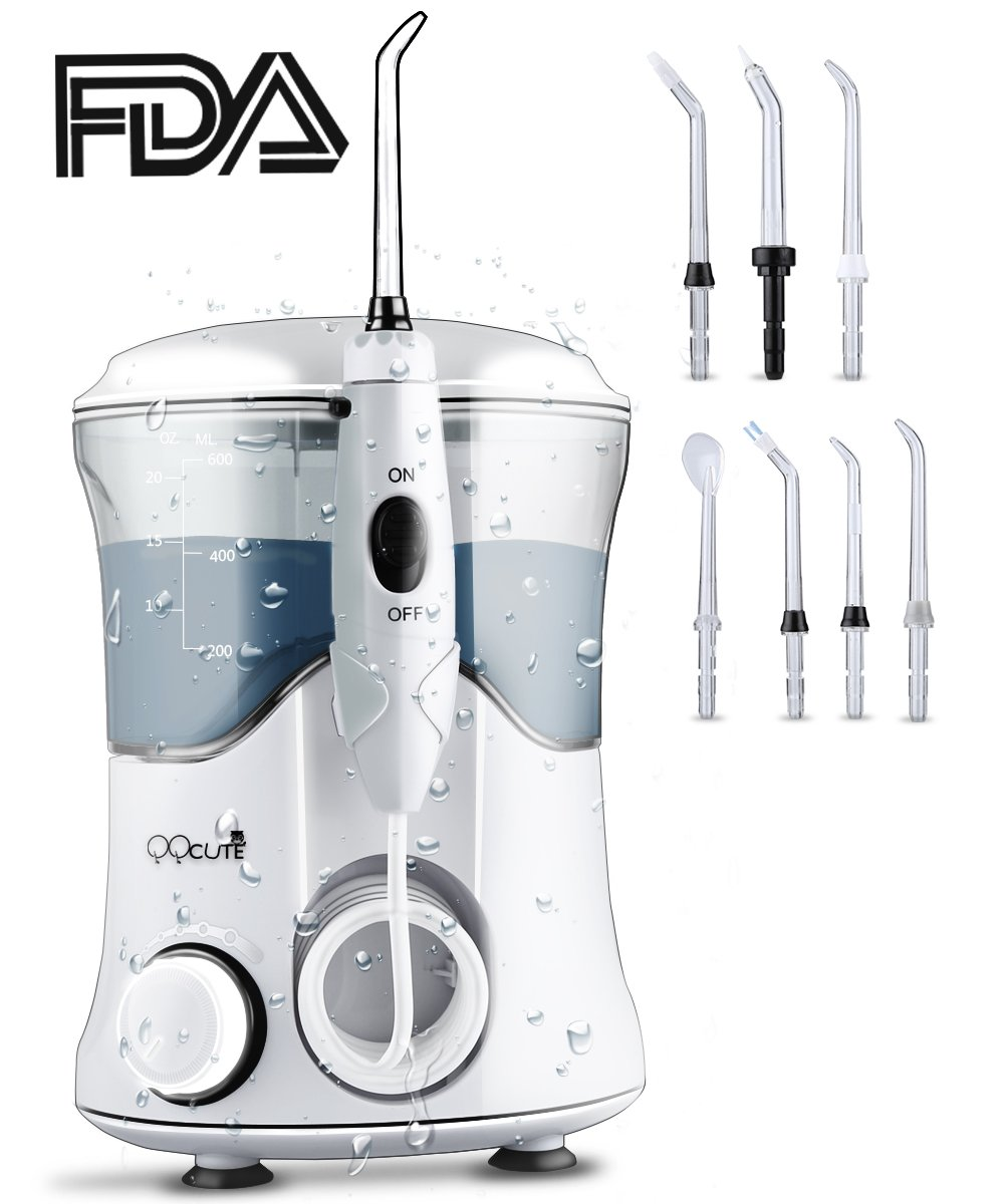 QQCute Water Dental Flosser with 7 Multifunctional Tips 600ml Countertop teeth cordless Oral Irrigator For Home Use