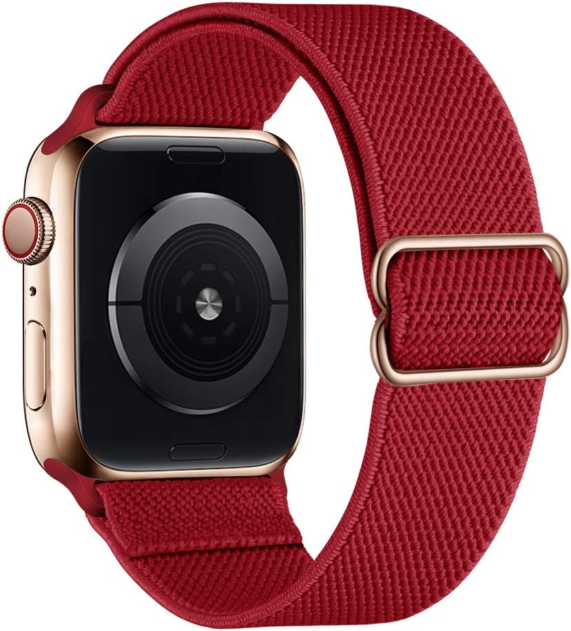 SIRUIBO Stretchy Nylon Solo Loop Bands Compatible with Apple Watch 38mm 40mm, Adjustable Stretch Braided Sport Elastics Women Men Strap Compatible with iWatch Series 6/5/4/3/2/1 SE, Wine Red